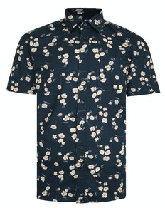 Bigdude Flower Print Short Sleeve Shirt Black Tall