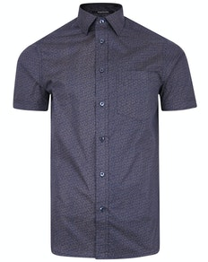Bigdude Short Sleeve Cotton Woven Pattern Shirt Navy/Brown