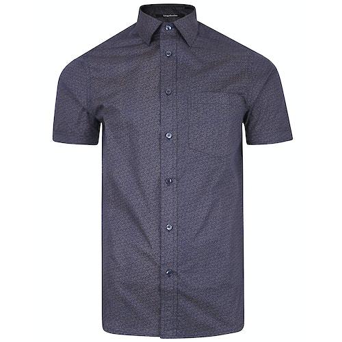 Bigdude Short Sleeve Cotton Woven Pattern Shirt Navy/Brown