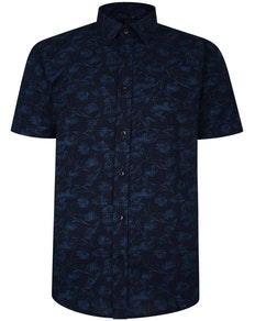Bigdude Short Sleeve Cotton Woven Link Floral Pattern Shirt Black/Blue Tall