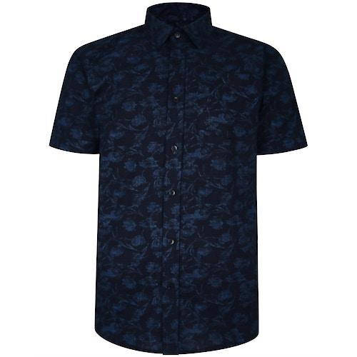 Bigdude Short Sleeve Cotton Woven Link Floral Pattern Shirt Black/Blue Tall