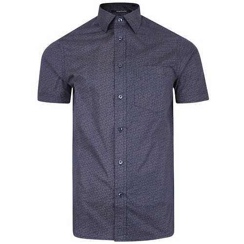 Bigdude Short Sleeve Cotton Woven Pattern Shirt Navy/Brown Tall