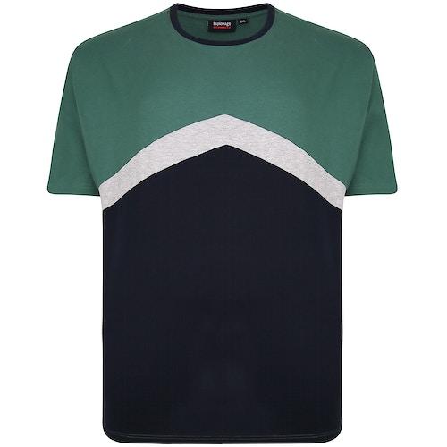 Espionage Cut & Sew Crew Neck T-Shirt Navy/Green