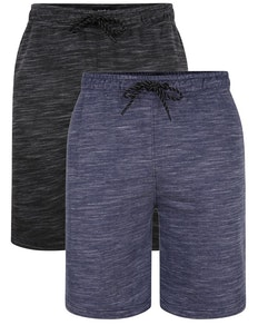 Bigdude Melierte Shorts im Doppelpack Grau/Blau