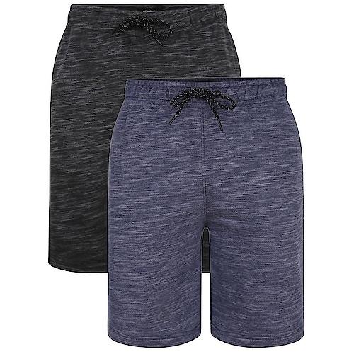 Bigdude Inkjet Marl Shorts Twin Pack Charcoal/Navy