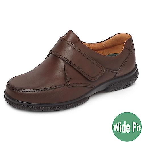 DB Shoes Havant Wide Fit Leather Brown Shoe