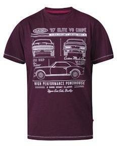 D555 Brady Classic Cars Printed T-Shirt Burgundy