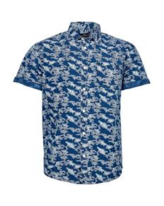 Replika Allover Printed Camo Short Sleeve Shirt Blue