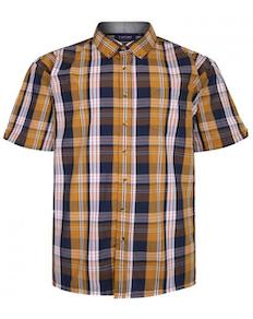 Espionage Short Sleeve Check Shirt Navy/Mustard