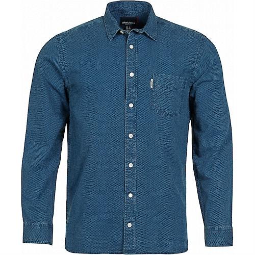 Replika Denim Long Sleeve Shirt Blue