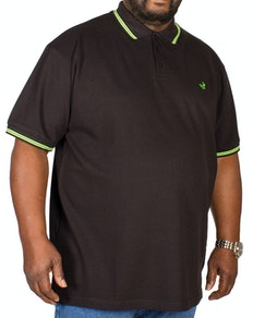 Bigdude Tipped Polo Shirt Black/Green Tall