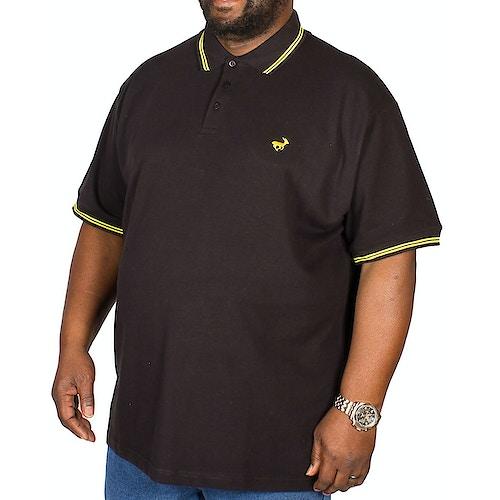 Bigdude Poloshirt Schwarz / Gelb Tall Fit