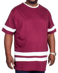 Bigdude Contrast Stripe T-Shirt Burgundy