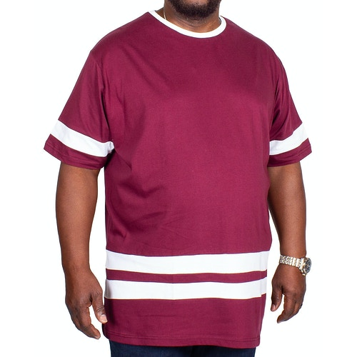 Bigdude Kontraststreifen T-Shirt Weinrot