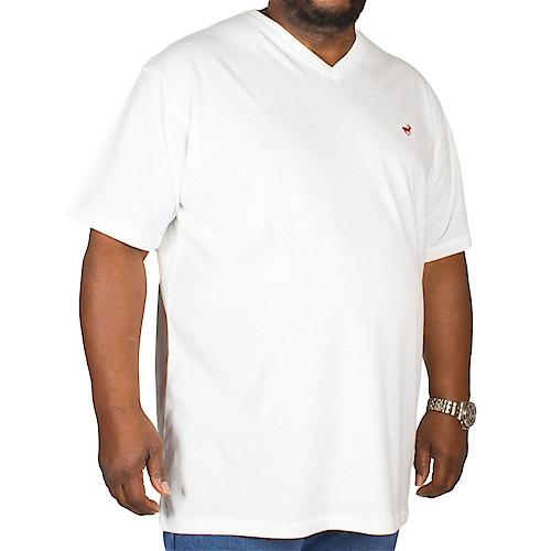 Bigdude Signature V-Neck T-Shirt Off White Tall