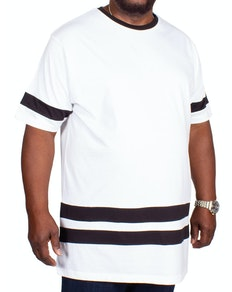 Bigdude Kontraststreifen T-Shirt Weiß