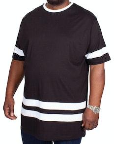 Bigdude Kontraststreifen T-Shirt Schwarz