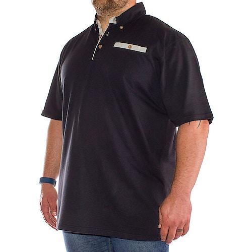 Bigdude Poloshirt mit Kontrasttasche Schwarz