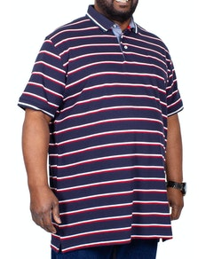 D555 Holmes Stripe Polo Shirt with Pocket Navy
