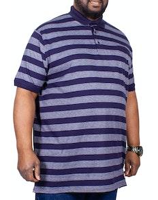 D555 gestreiftes Poloshirt Marineblau