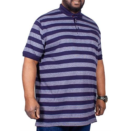 D555 Stripe Polo Shirt With Jet Pocket Navy