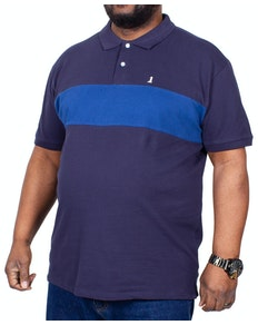 Replika zweifarbiges Poloshirt Marineblau