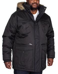 Bigdude Full Zip Parka Coat Black