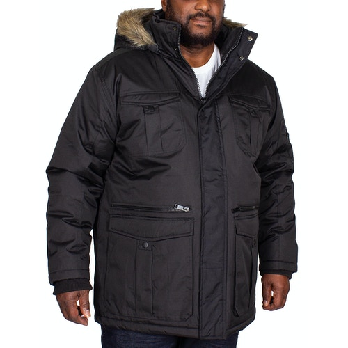 Bigdude Full Zip Parka Coat Black
