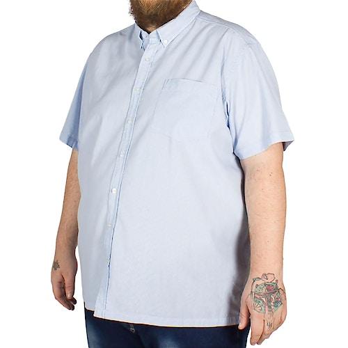 Bigdude Fine Stripe Short Sleeve Shirt Blue