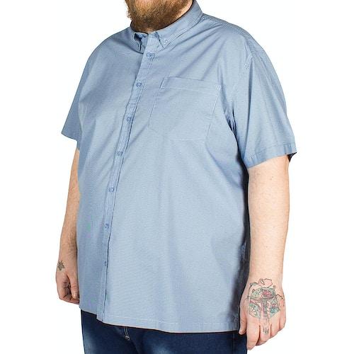 Bigdude Short Sleeve Stripe and Circle Print Shirt Blue