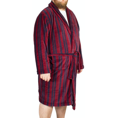 Espionage Stripe Fleece Dressing Gown Wine/Navy