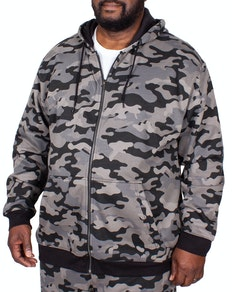 Bigdude Camouflage Full Zip Hoody Grey Tall