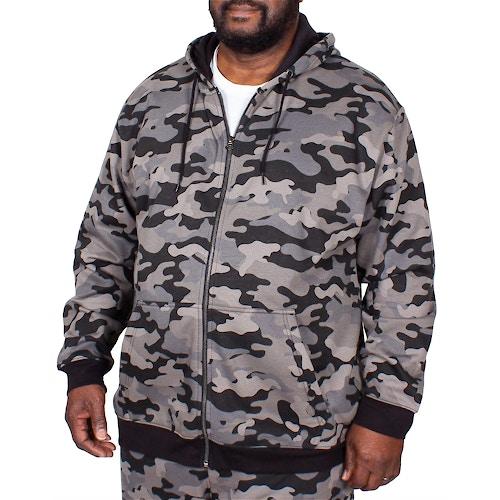 Bigdude Camouflage Kapuzenjacke Grau Tall Fit