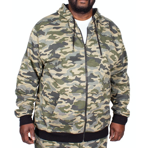 Bigdude Camouflage Full Zip Hoody Khaki Tall