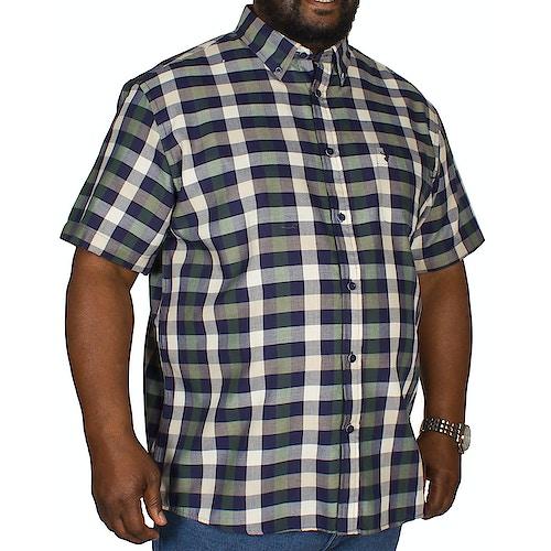 KAM Short Sleeve Check Shirt Dark Ivy/Blue