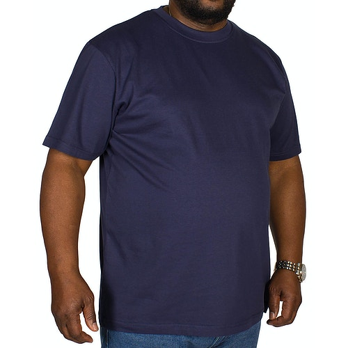 Bigdude T-Shirt mit Rundhalsausschnitt Marineblau Tall Fit