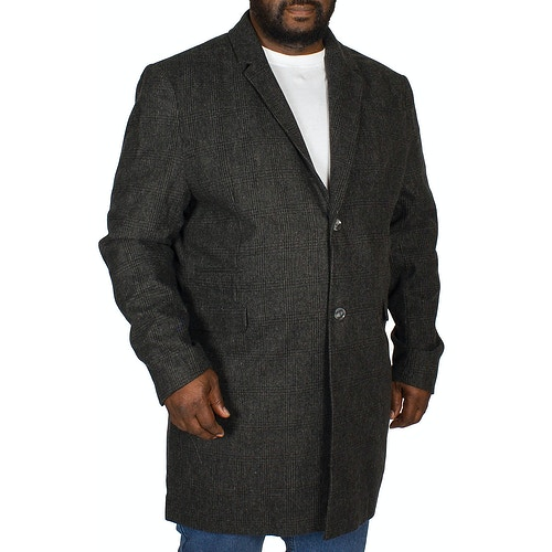 D555 Terry Checked Overcoat Charcoal