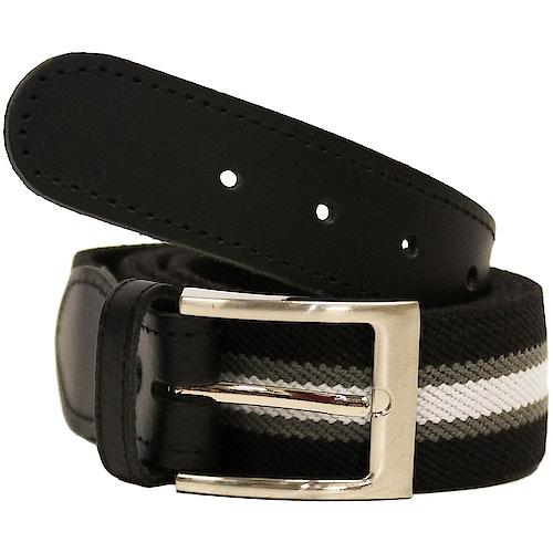 John King Warwick Elasticated Belt Black Stripe