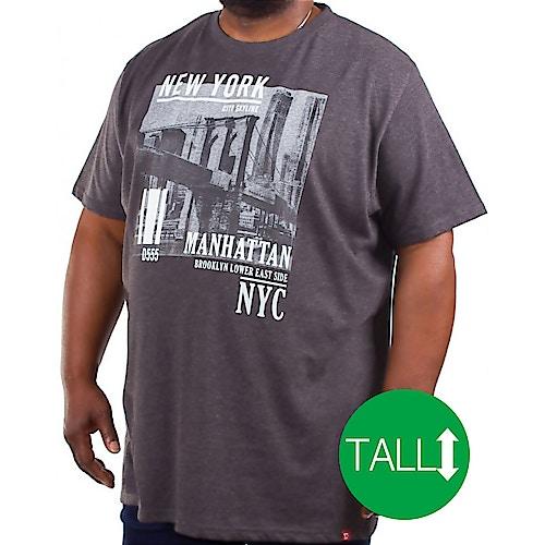 D555 Wesley New York Print T-Shirt Charcoal Tall