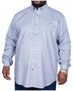 Espionage Long Sleeve Floral Print Shirt Navy/White