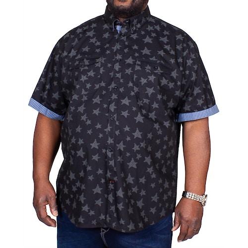 KAM Star Print Short Sleeve Shirt Charcoal