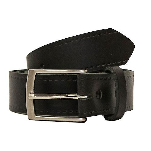 John King Bath Leather Trouser Belt Black