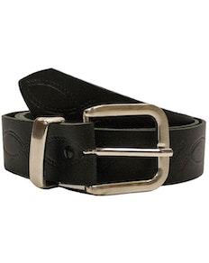 John King Chester Leather Patterned Belt Black