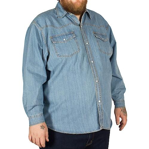 KAM Long Sleeve Denim Shirt Lightwash