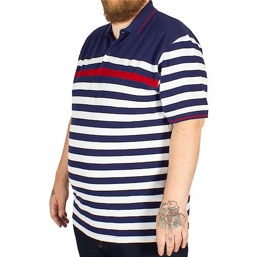 KAM gestreiftes Poloshirt Dunkelblau
