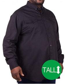 D555 Plain Long Sleeve Shirt Black Tall