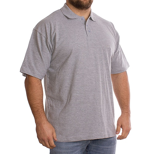 Einfarbig Graues Polohemd