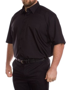 Rael Brook Einfarbig Schwarzes Kurzarmhemd