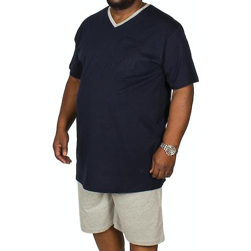 Bigdude kurzer Pyjama mit V-Ausschnitt Blau / Grau