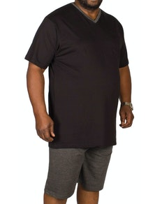 Bigdude Short V-Neck Pyjamas Black/Charcoal